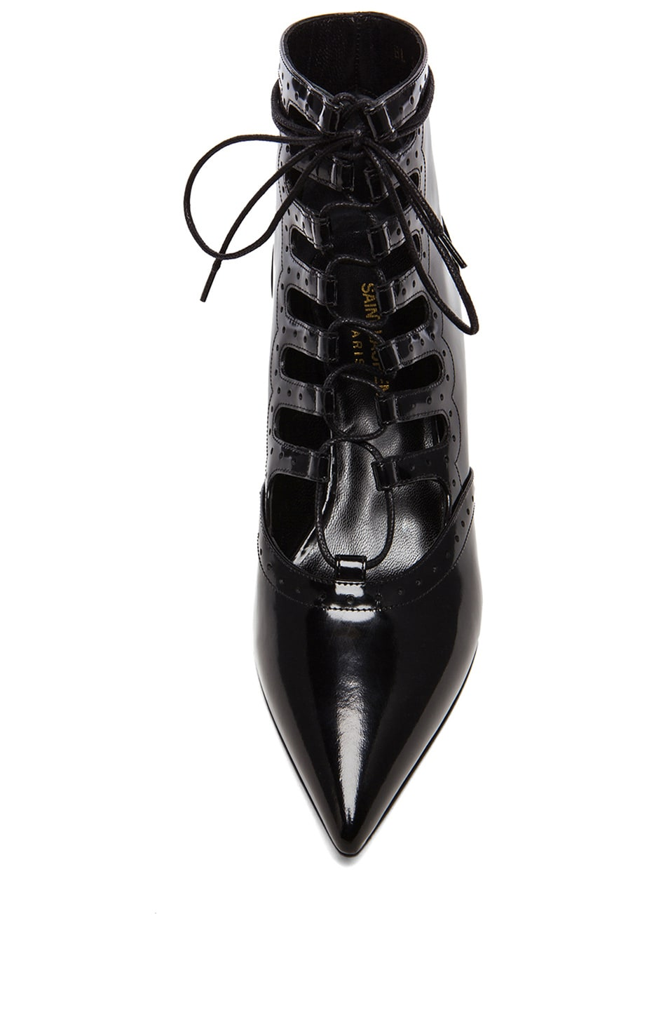 Image 4 of Saint Laurent Lace Up Cat Patent Leather Boots in Black