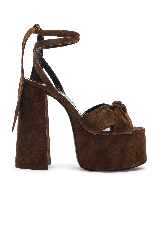 Image 1 of Saint Laurent Platform Sandals in Land