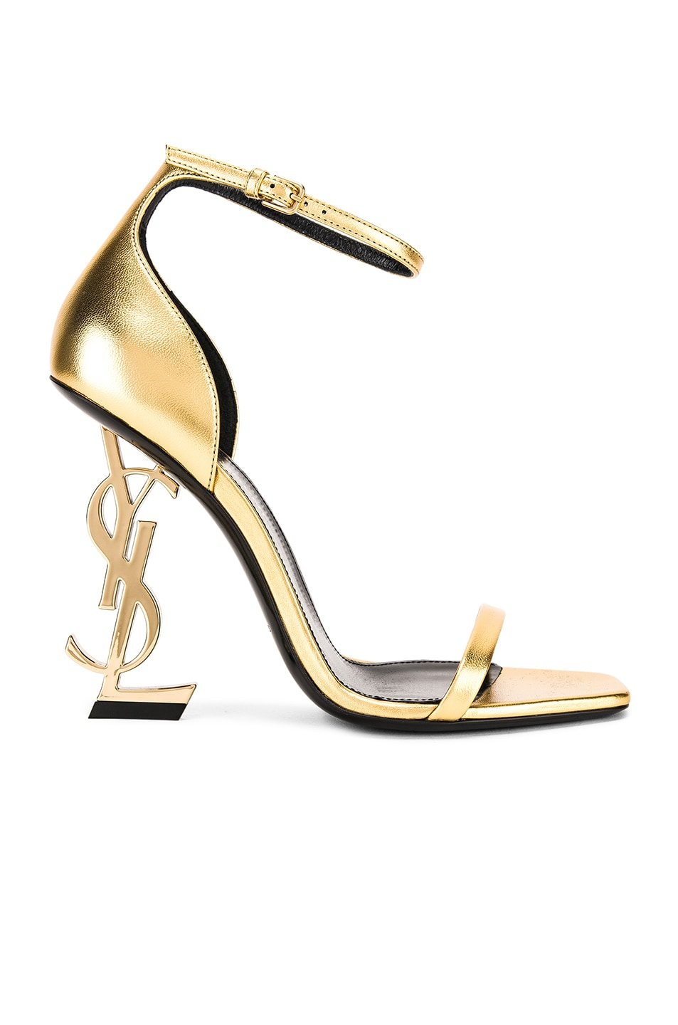 Image 1 of Saint Laurent Logo Ankle Strap Heel in Gold