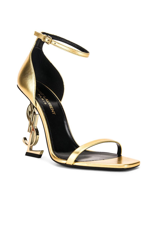 Image 2 of Saint Laurent Logo Ankle Strap Heel in Gold