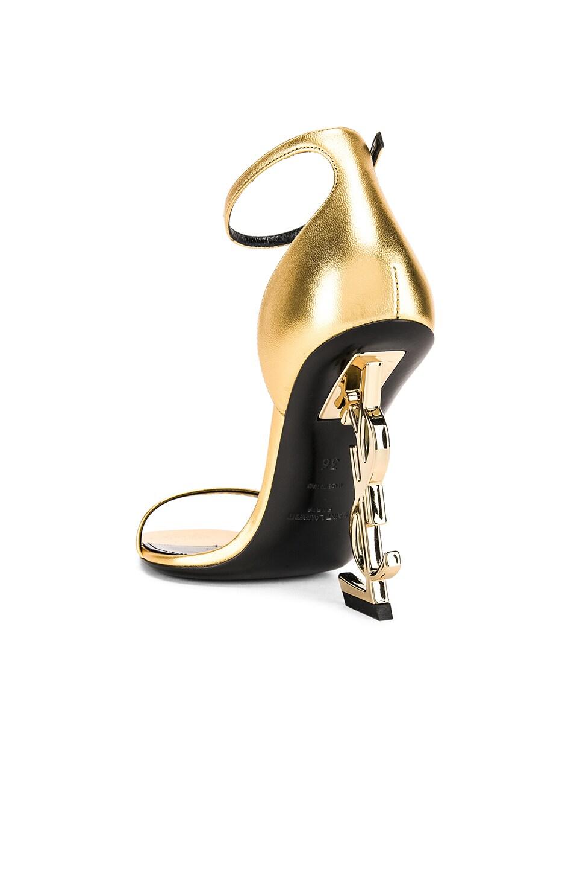Image 3 of Saint Laurent Logo Ankle Strap Heel in Gold