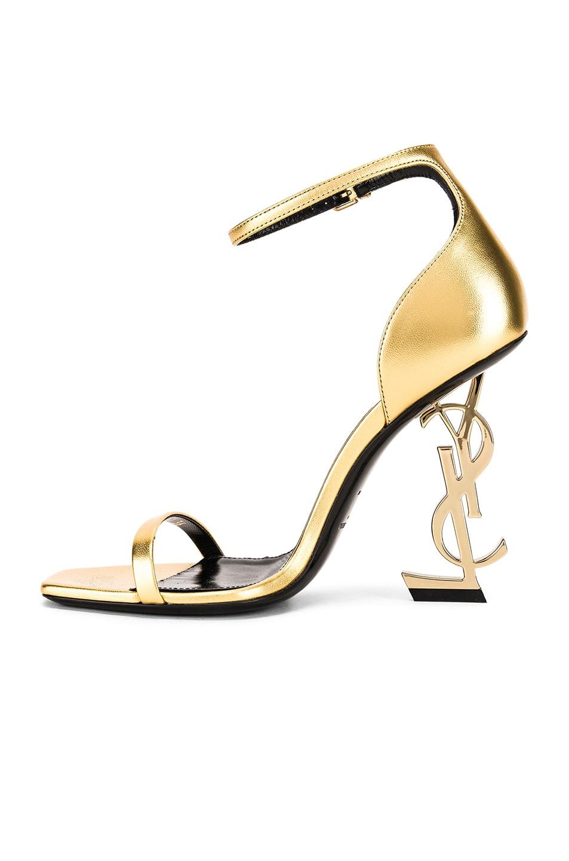Image 5 of Saint Laurent Logo Ankle Strap Heel in Gold