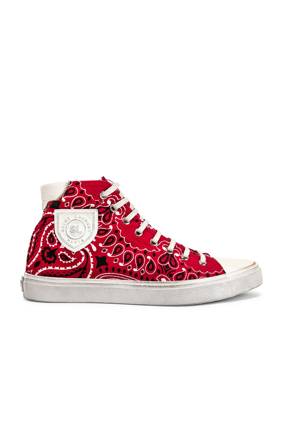 Image 1 of Saint Laurent High Top Bedford Sneakers in Red & White