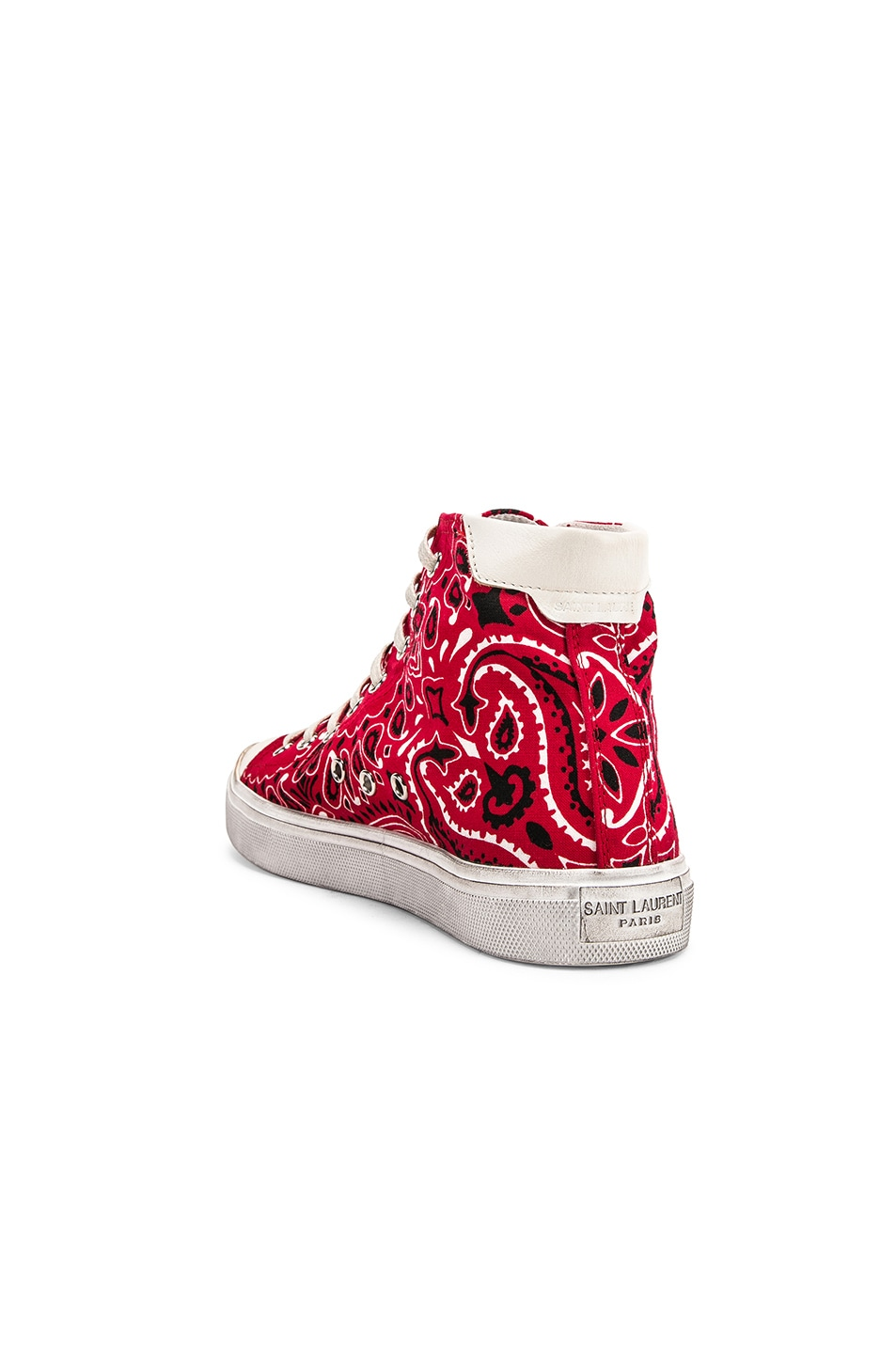 Image 3 of Saint Laurent High Top Bedford Sneakers in Red & White