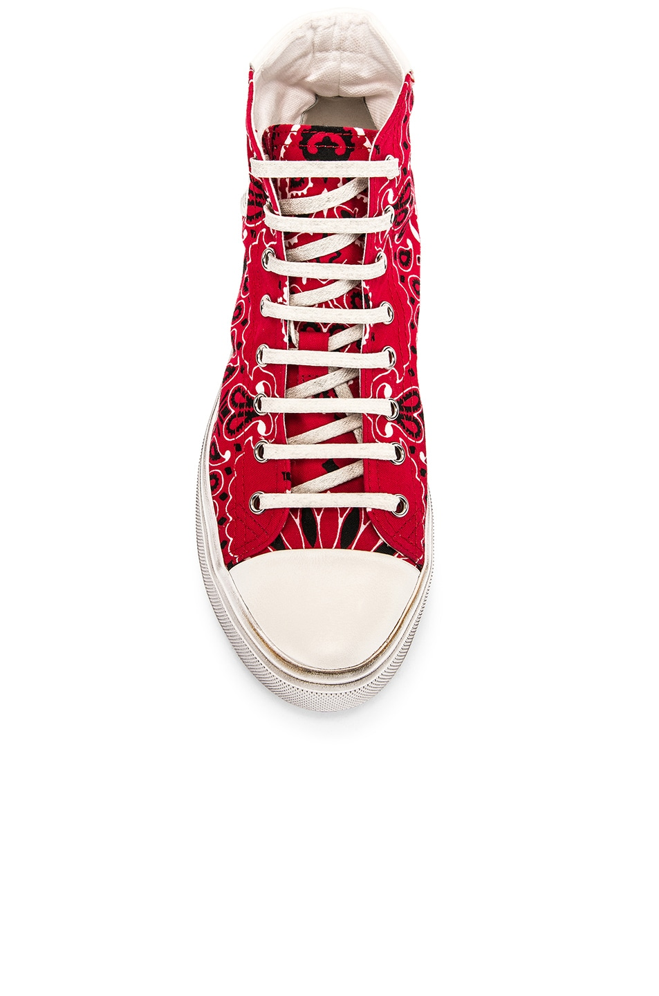 Image 4 of Saint Laurent High Top Bedford Sneakers in Red & White