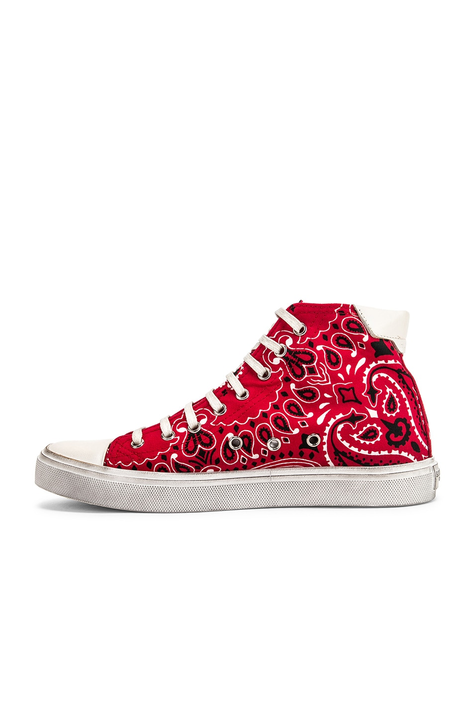 Image 5 of Saint Laurent High Top Bedford Sneakers in Red & White