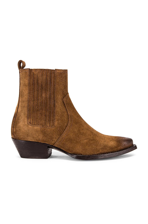 Image 1 of Saint Laurent Western Ankle Bootie in Brown