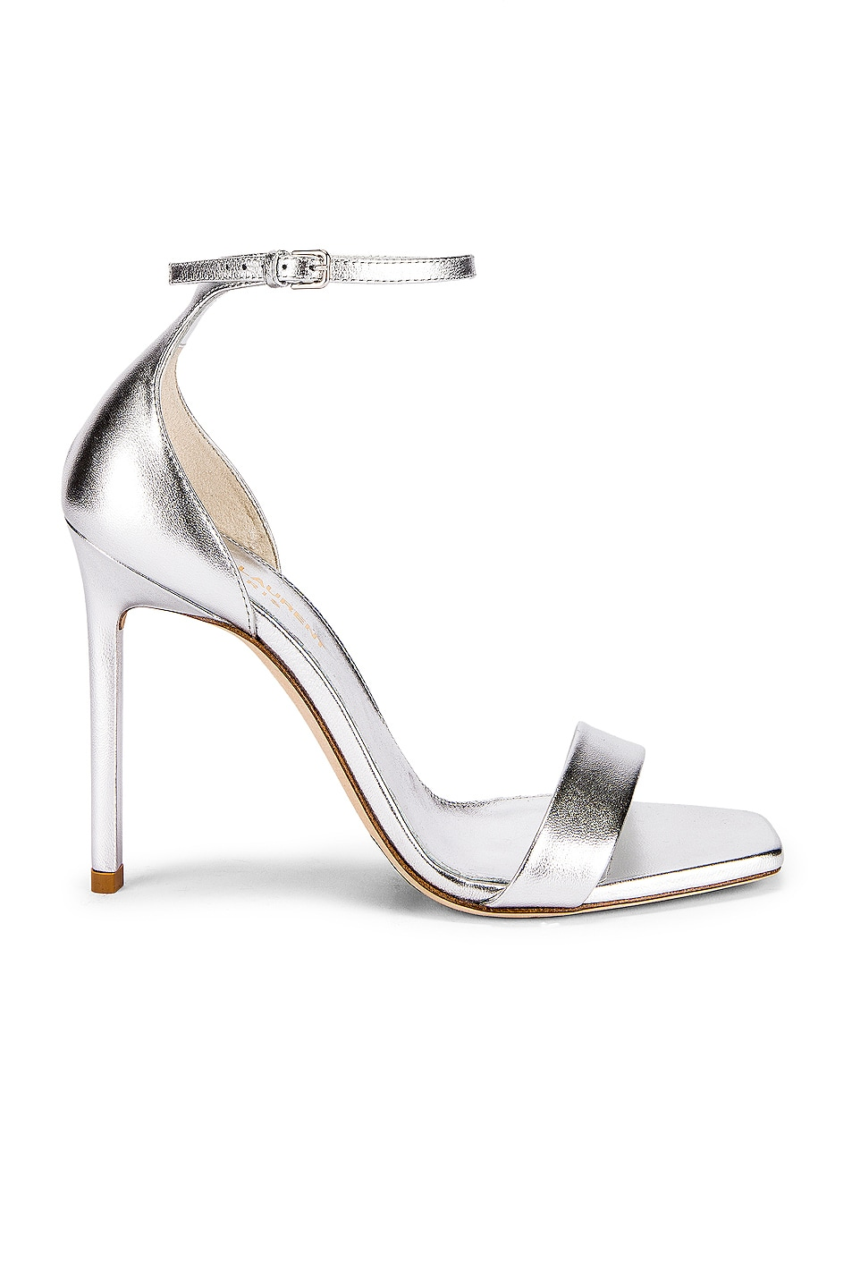 Image 1 of Saint Laurent Amber Ankle Strap Heels in Silver