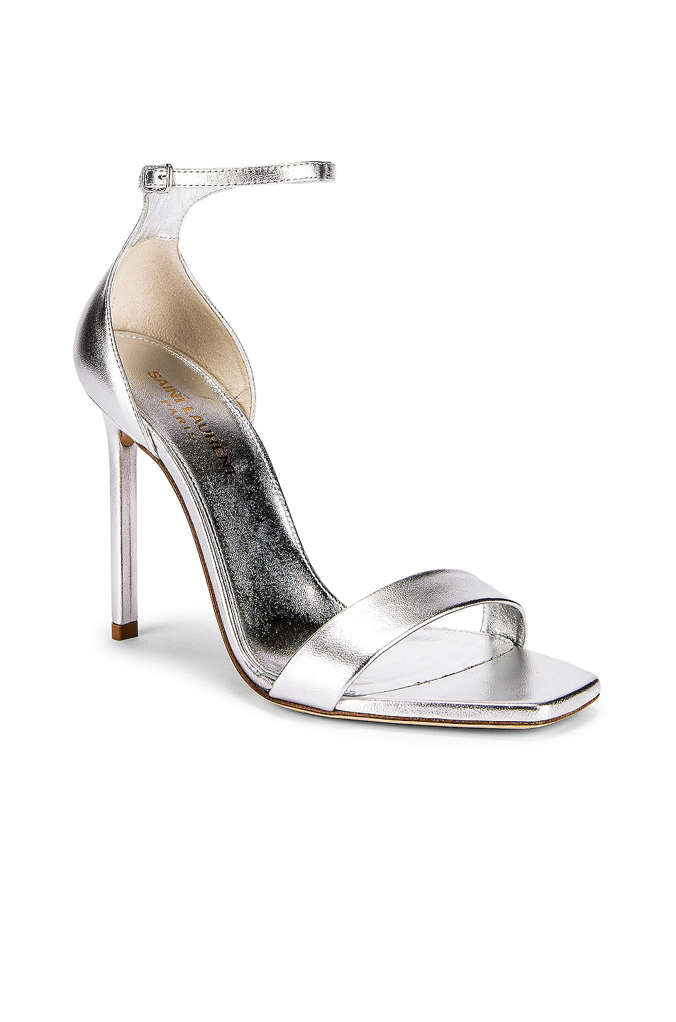 Image 2 of Saint Laurent Amber Ankle Strap Heels in Silver