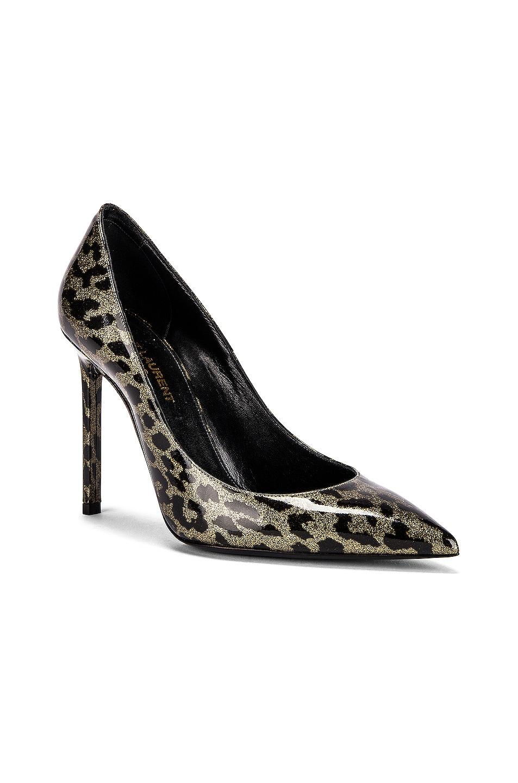 Image 2 of Saint Laurent Anja Leopard Glitter Diamond Heels in Gold & Black