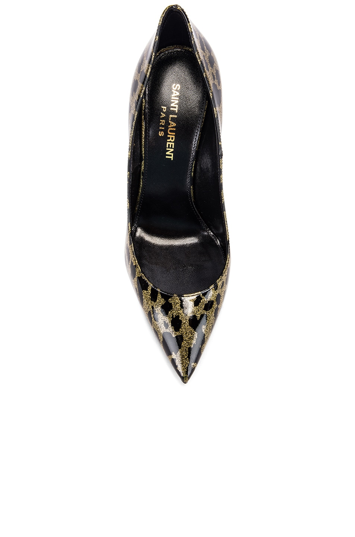 Image 4 of Saint Laurent Anja Leopard Glitter Diamond Heels in Gold & Black