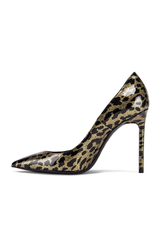 Image 5 of Saint Laurent Anja Leopard Glitter Diamond Heels in Gold & Black