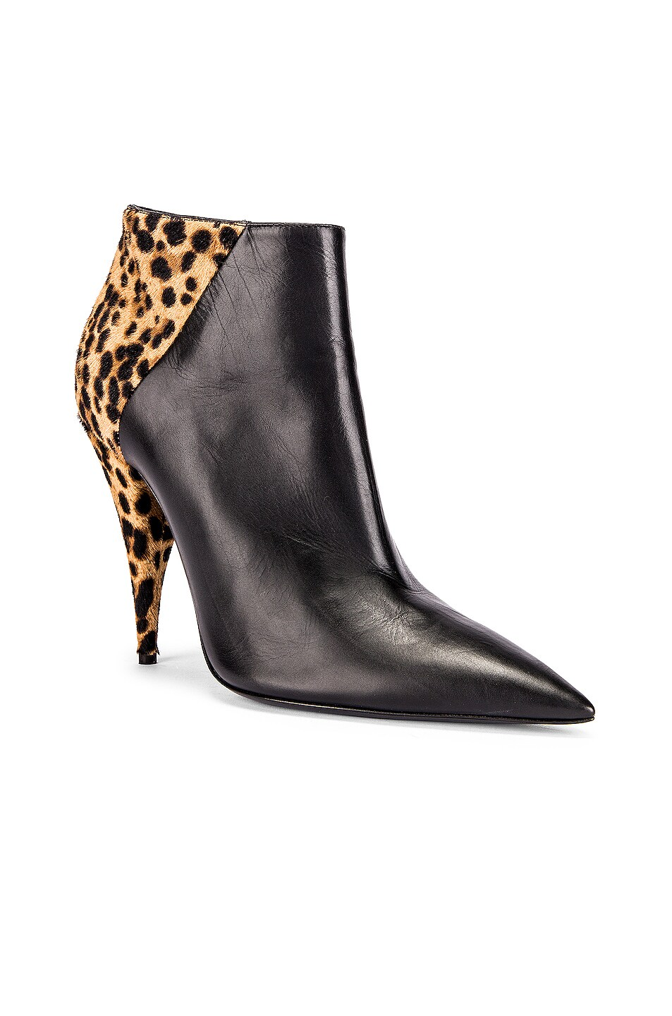 Image 2 of Saint Laurent Kiki Zip Booties in Black & Natural
