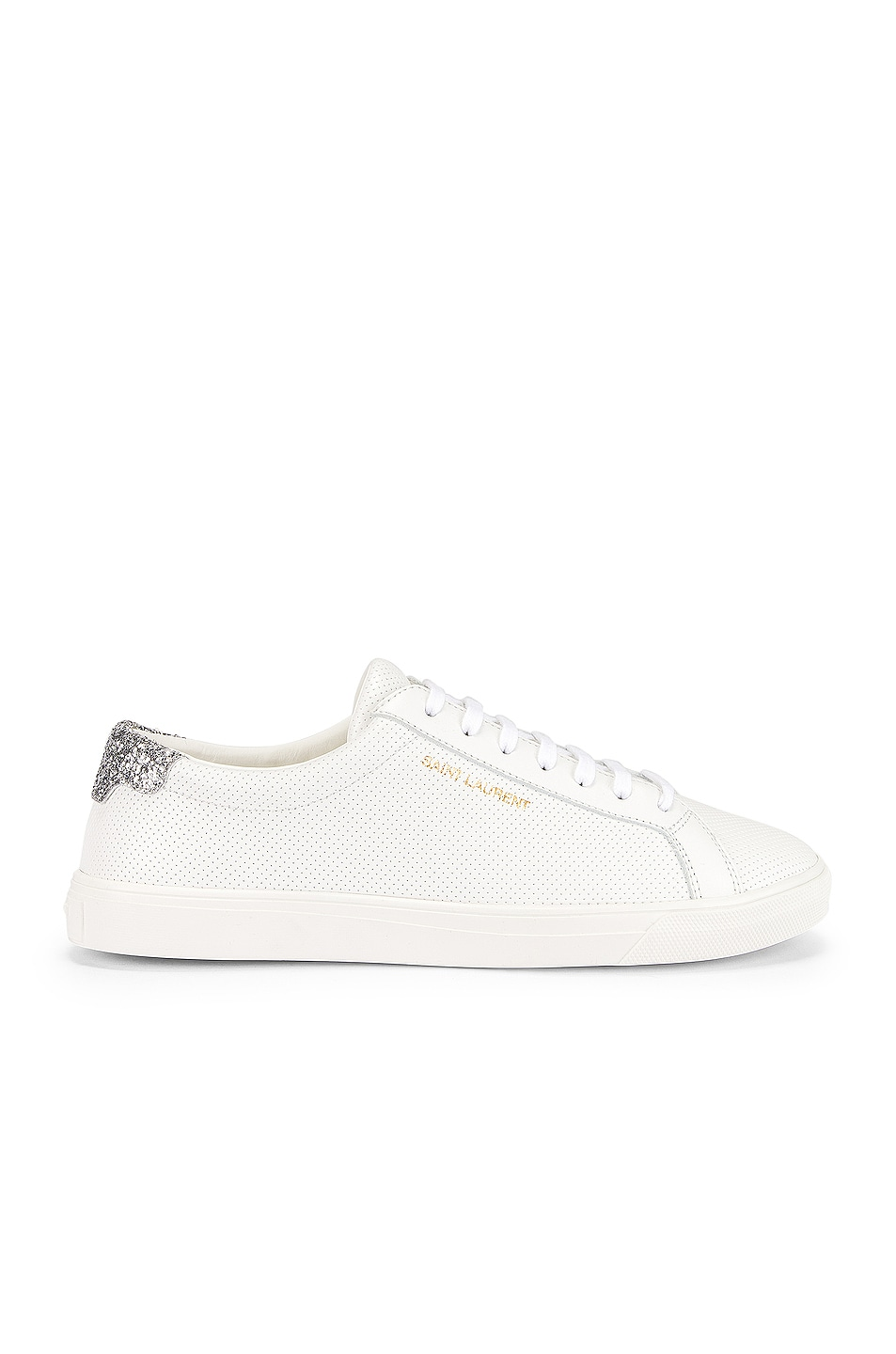 Image 1 of Saint Laurent Andy Low Top Glitter Sneaker in White & Silver