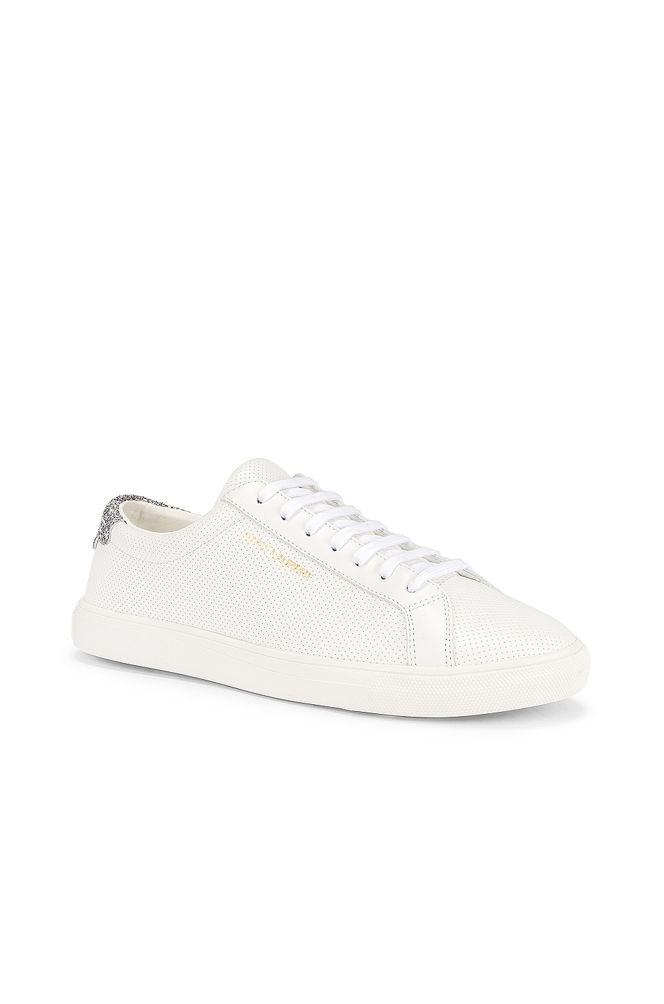 Image 2 of Saint Laurent Andy Low Top Glitter Sneaker in White & Silver
