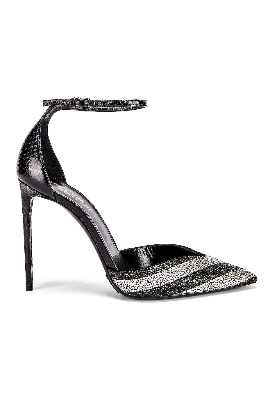 Image 1 of Saint Laurent Zoe Crystal Ankle Strap Heels in Black