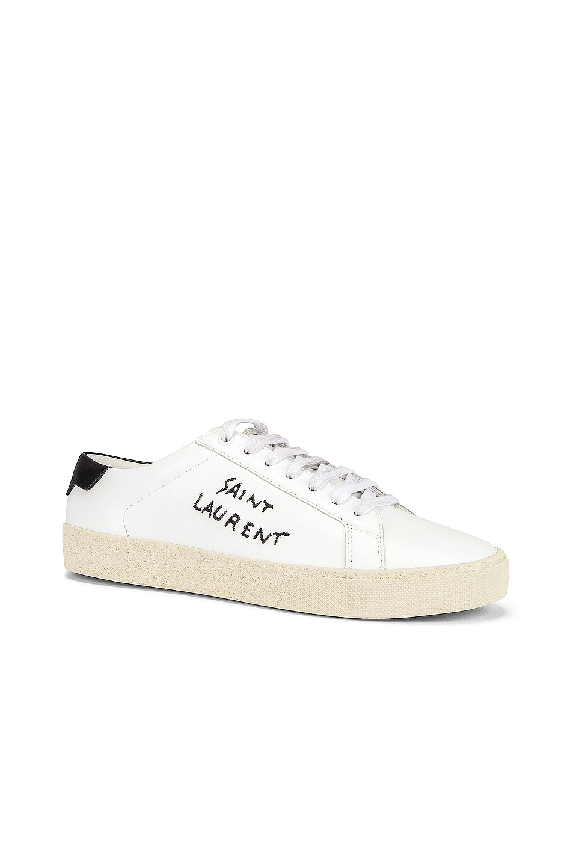Image 2 of Saint Laurent Signature Sneakers in White & Black
