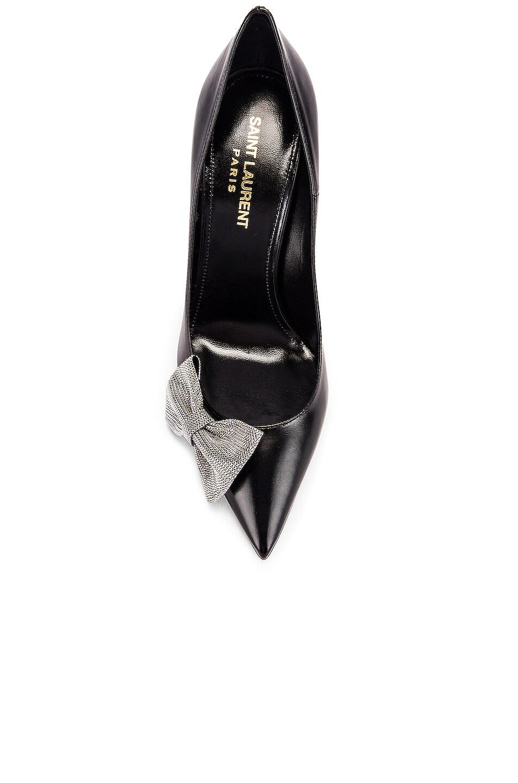 Image 4 of Saint Laurent Zoe Bow Leather Heels in Black