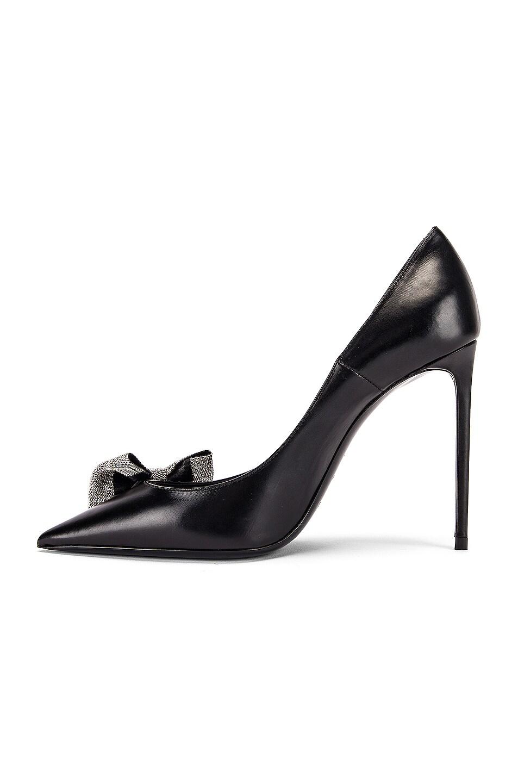 Image 5 of Saint Laurent Zoe Bow Leather Heels in Black