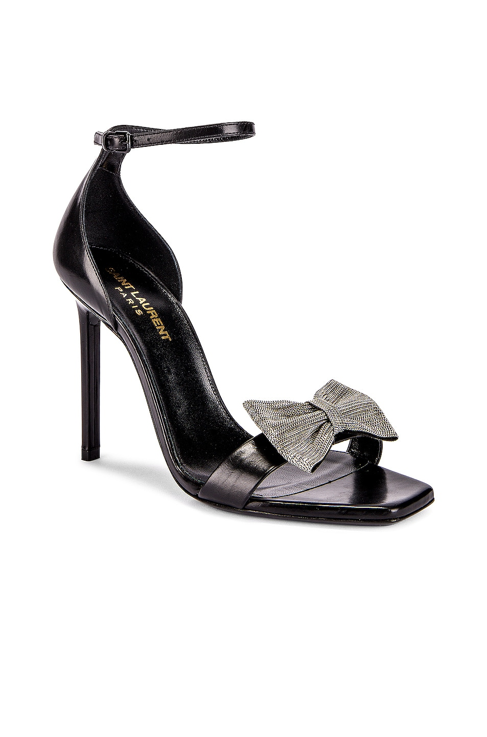 Image 2 of Saint Laurent Amber Bow Ankle Strap Heels in Black
