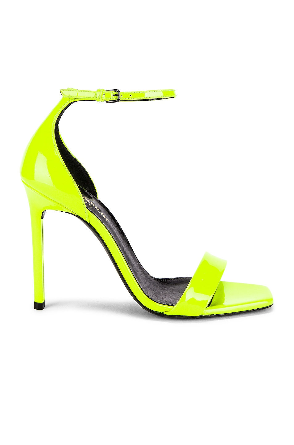 Image 1 of Saint Laurent Amber Ankle Strap Sandals in Fluo Yellow