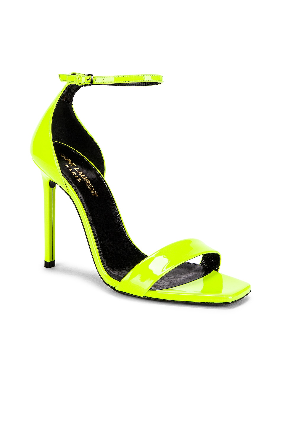 Image 2 of Saint Laurent Amber Ankle Strap Sandals in Fluo Yellow