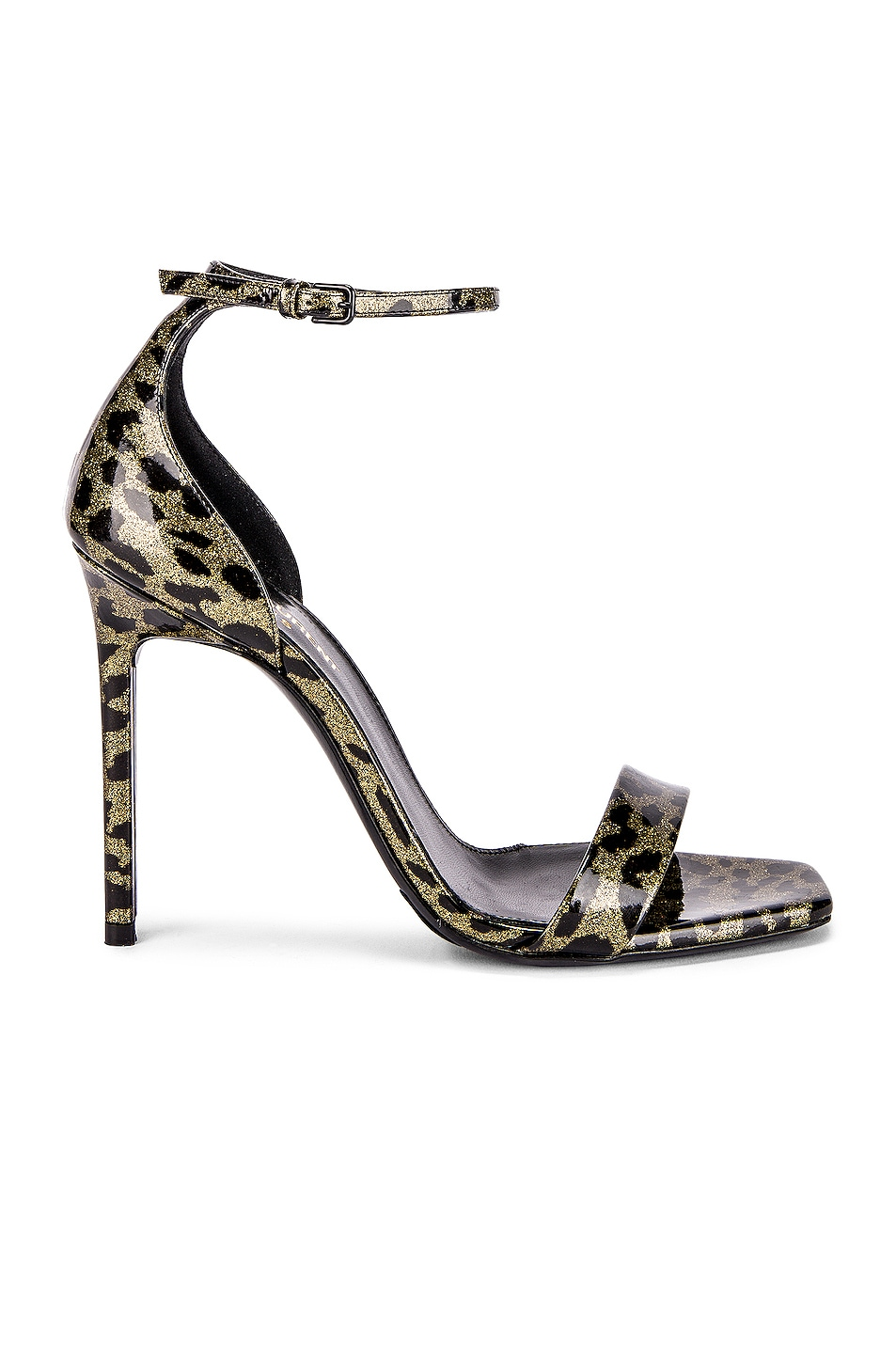 Image 1 of Saint Laurent Amber Leopard Glitter Ankle Strap Sandals in Gold & Black