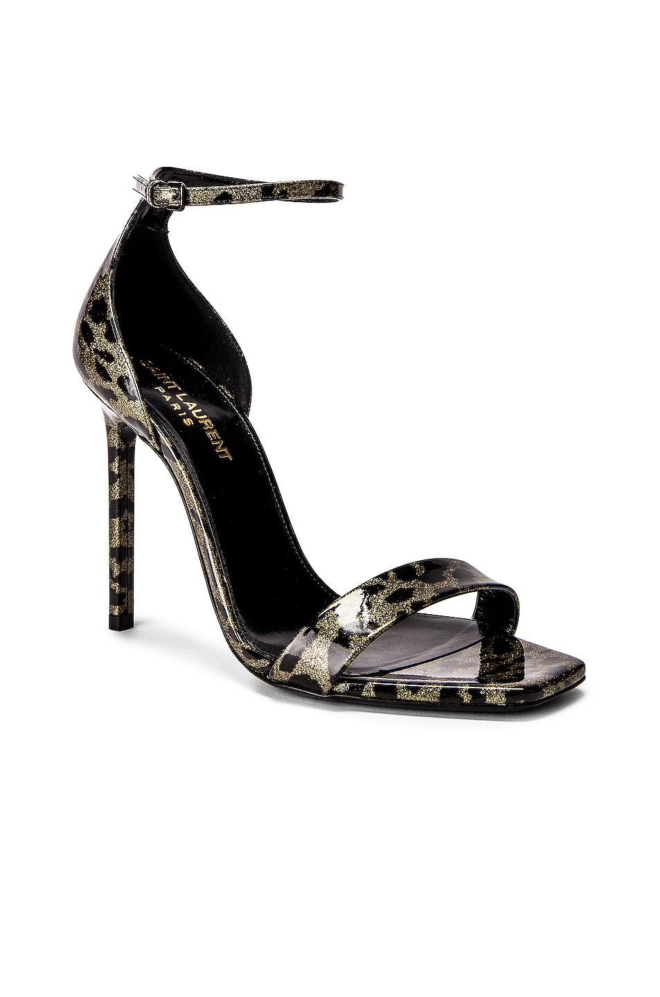 Image 2 of Saint Laurent Amber Leopard Glitter Ankle Strap Sandals in Gold & Black
