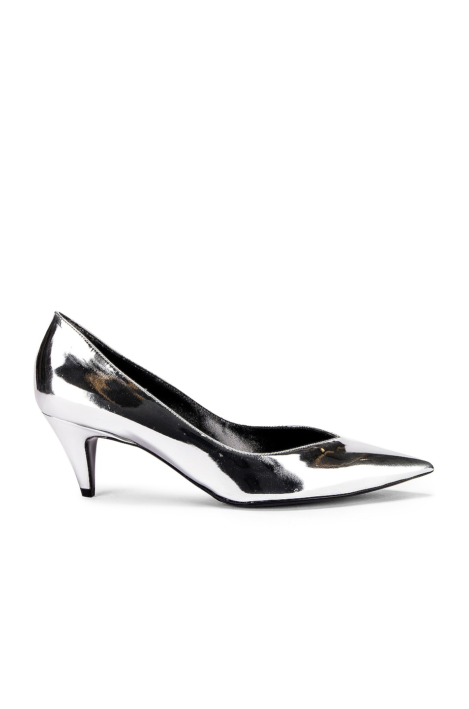 Image 1 of Saint Laurent Kiki Kitten Heels in Silver