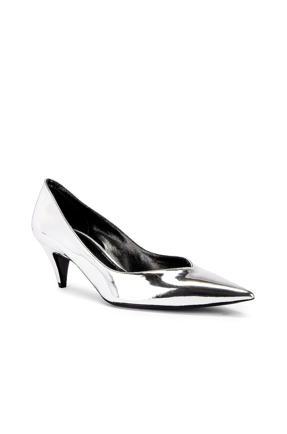 Image 2 of Saint Laurent Kiki Kitten Heels in Silver