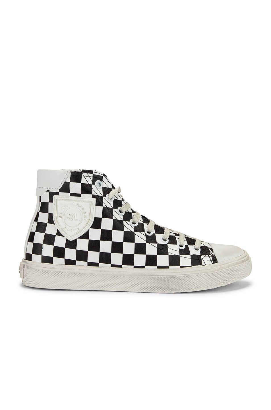 Image 1 of Saint Laurent Bedford Checkered Mid Top Sneakers in Black & White