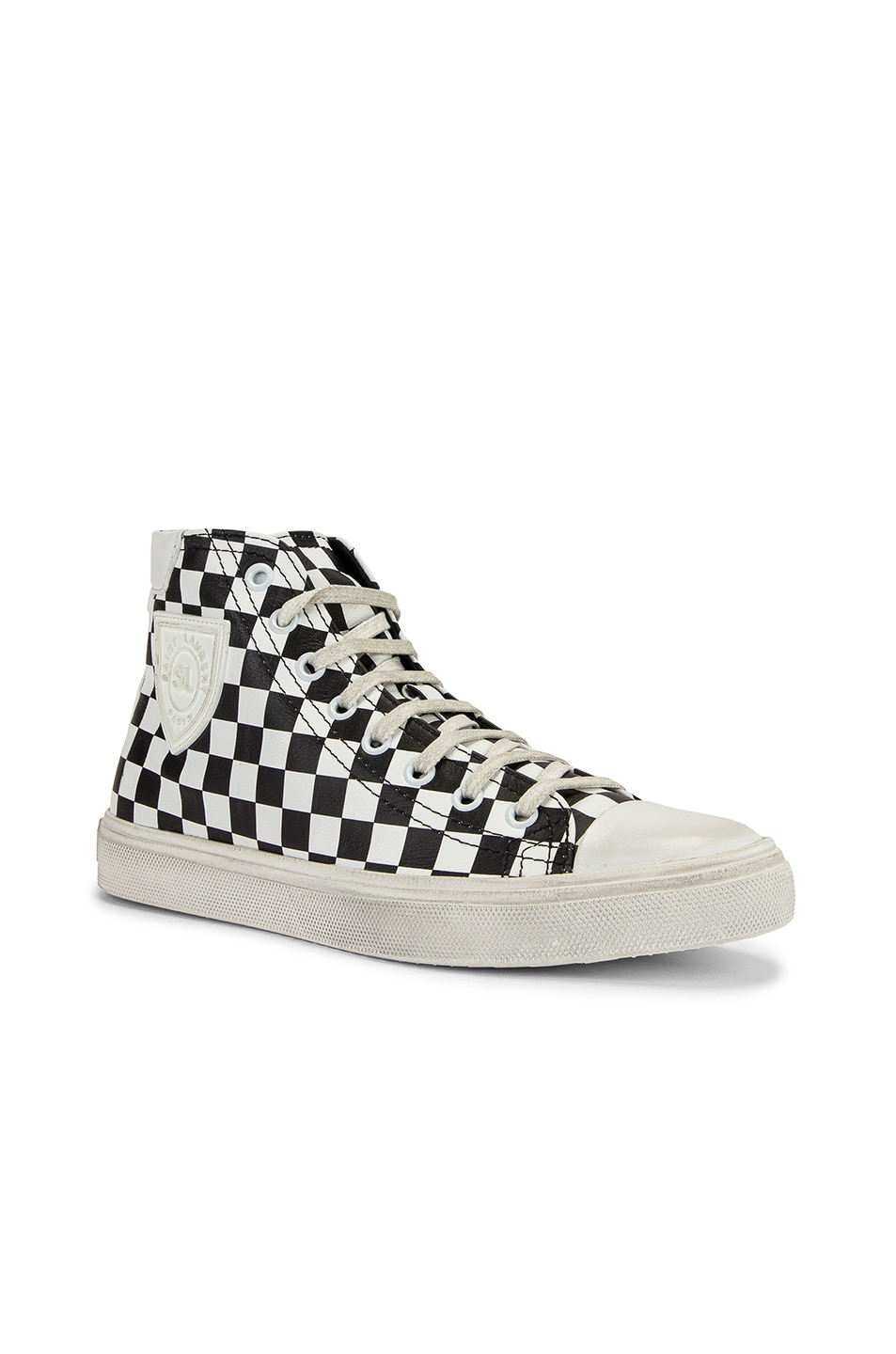 Image 2 of Saint Laurent Bedford Checkered Mid Top Sneakers in Black & White