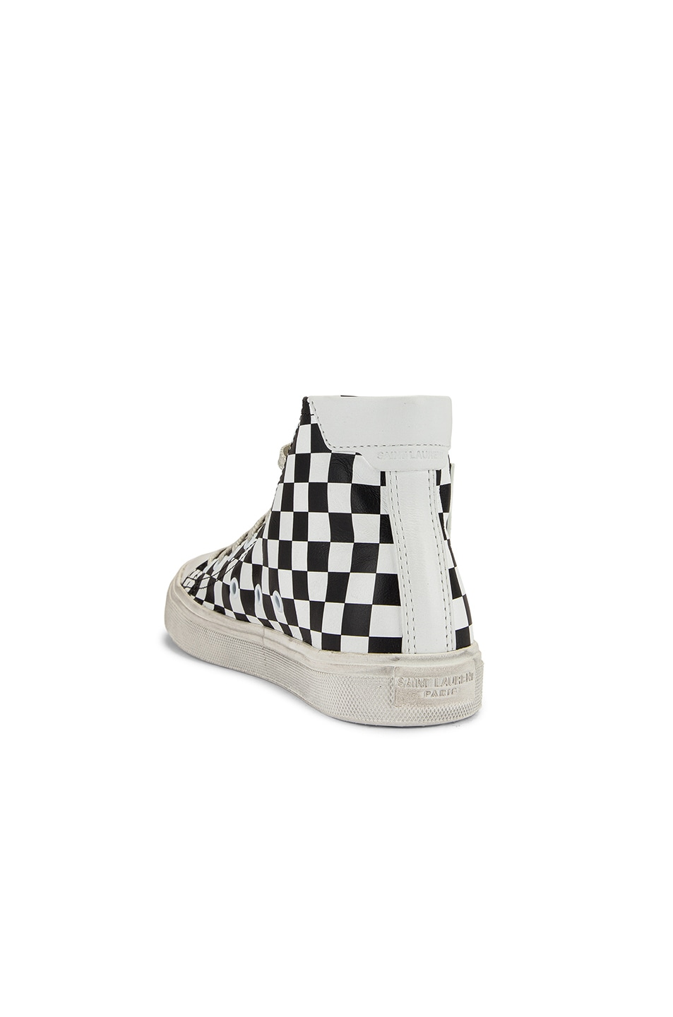 Image 3 of Saint Laurent Bedford Checkered Mid Top Sneakers in Black & White