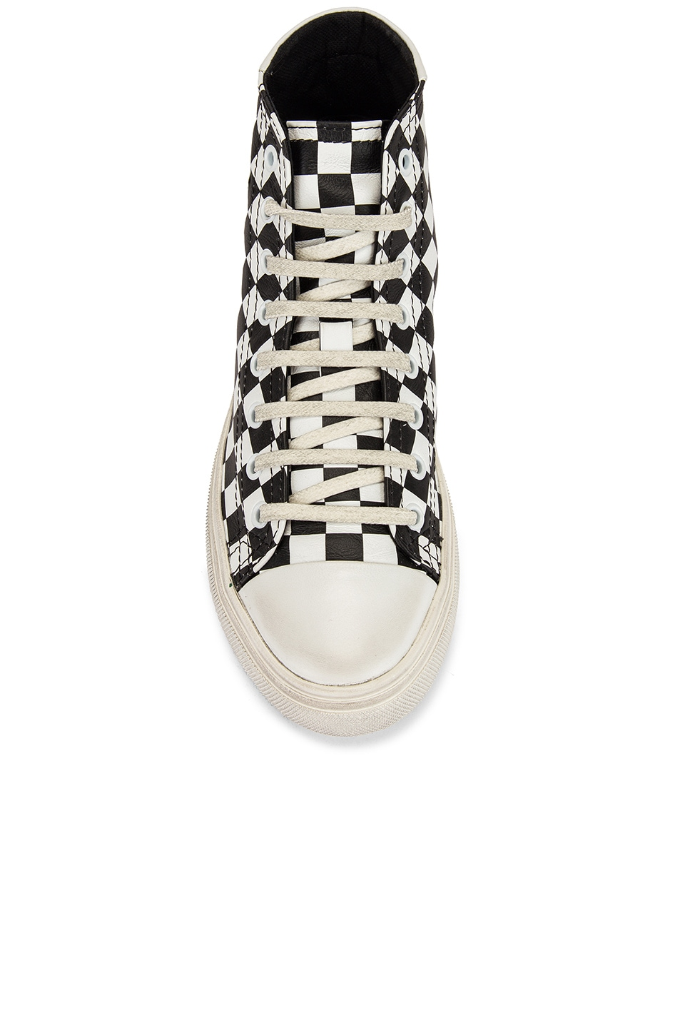 Image 4 of Saint Laurent Bedford Checkered Mid Top Sneakers in Black & White