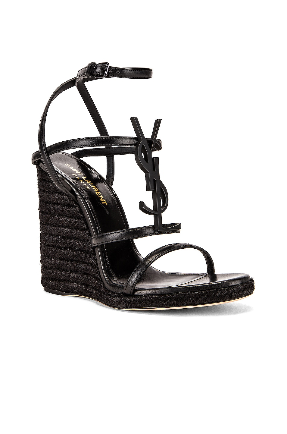Image 3 of Saint Laurent Cassandra Wedges in Black