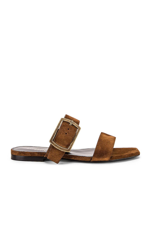 Image 1 of Saint Laurent Suede Oak Sandals in Caramel