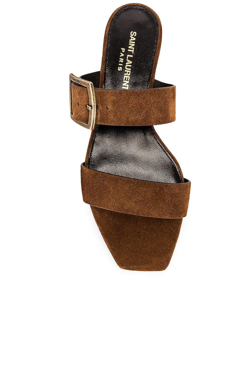 Image 4 of Saint Laurent Suede Oak Sandals in Caramel