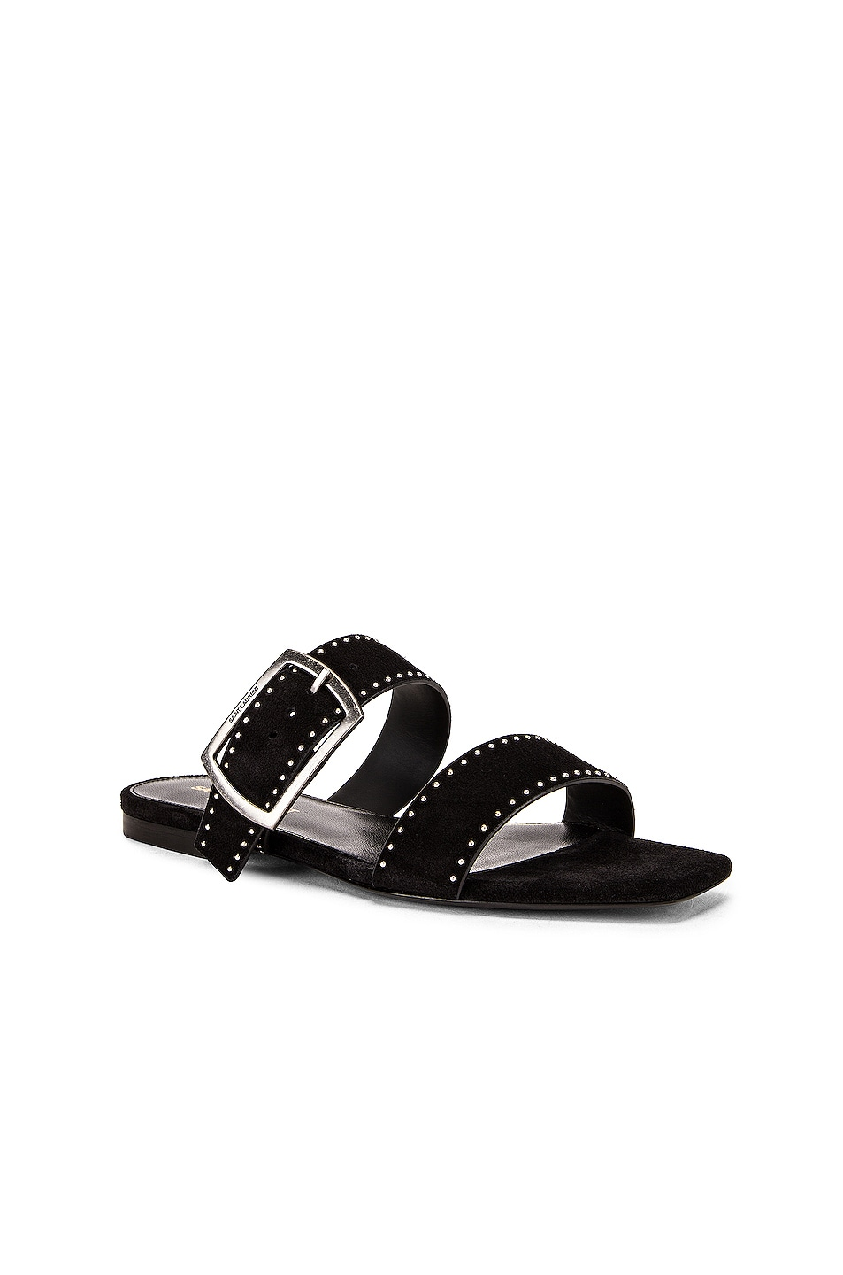 Image 2 of Saint Laurent Oak Buckle Sandals in Black