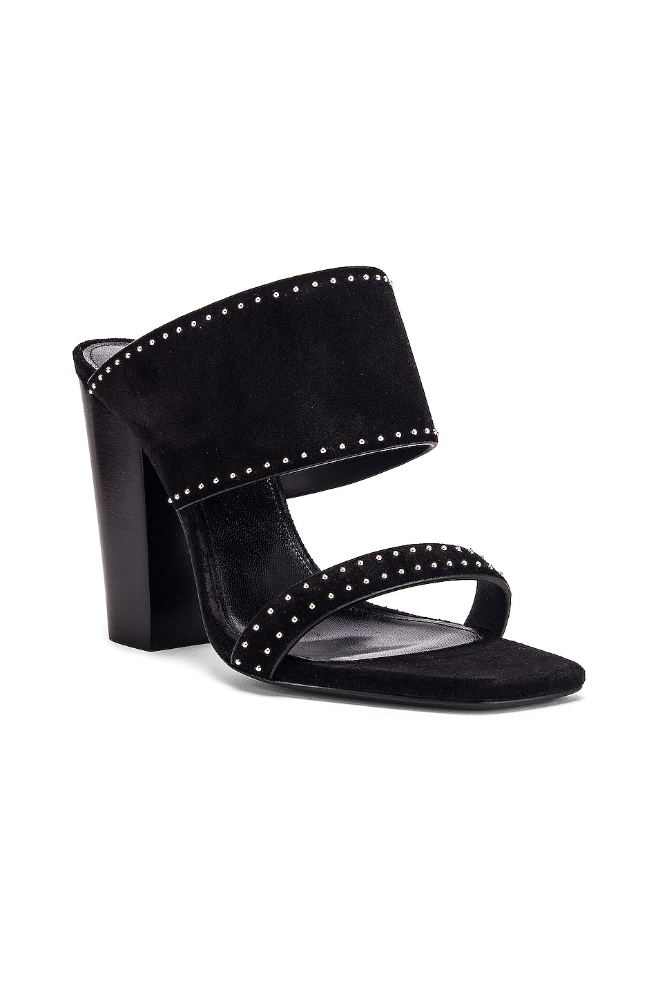 Image 2 of Saint Laurent Oak Stud Sandals in Black