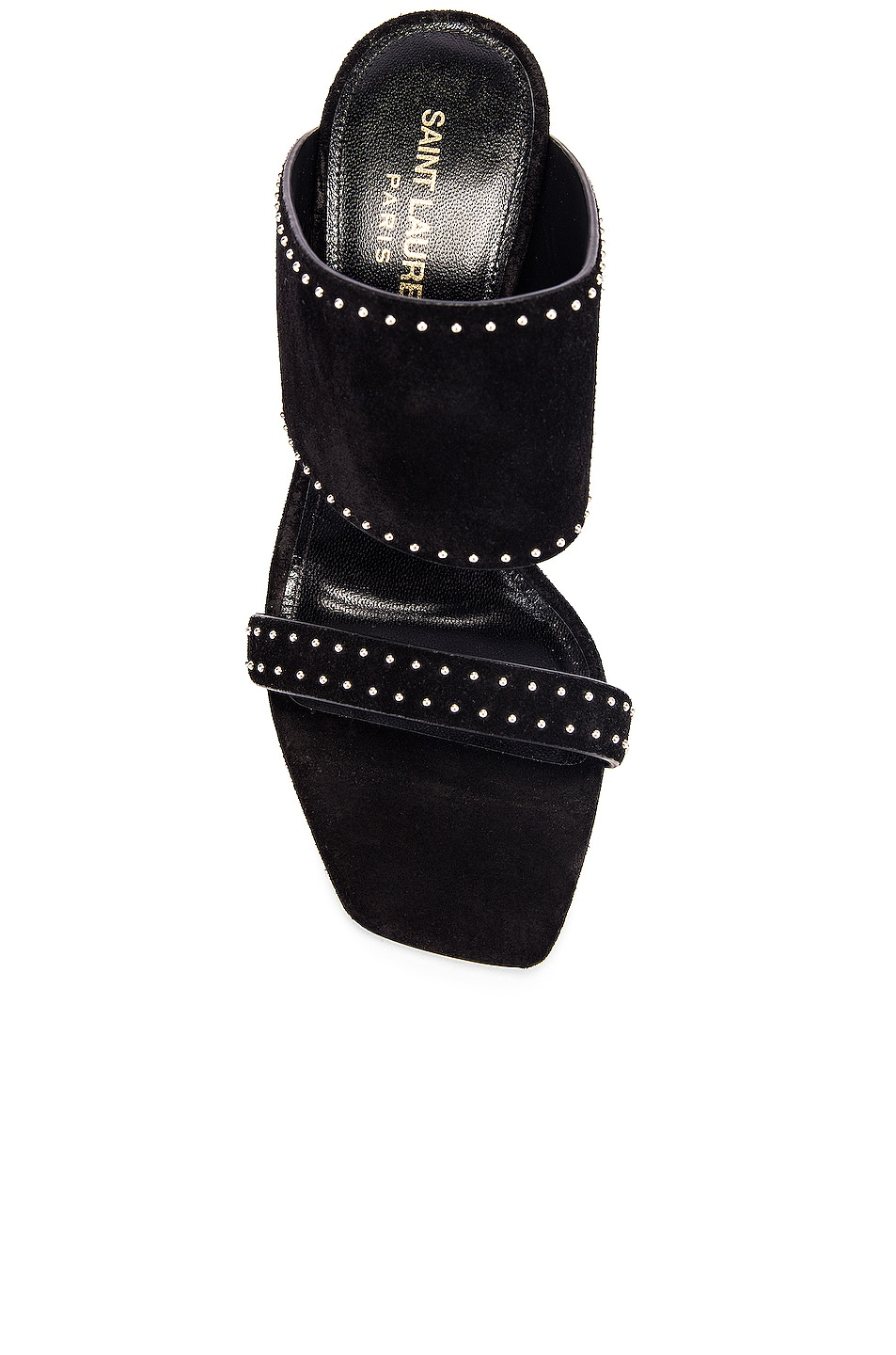 Image 4 of Saint Laurent Oak Stud Sandals in Black