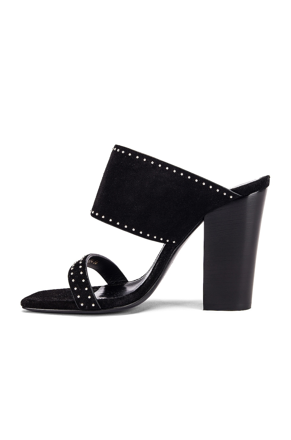 Image 5 of Saint Laurent Oak Stud Sandals in Black