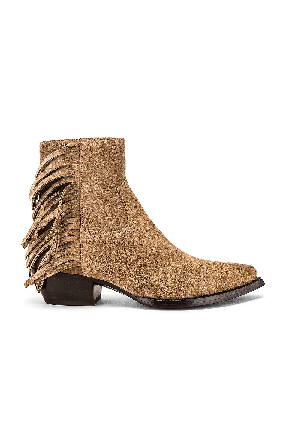 Image 1 of Saint Laurent Lukas Fringe Boots in New Sigaro