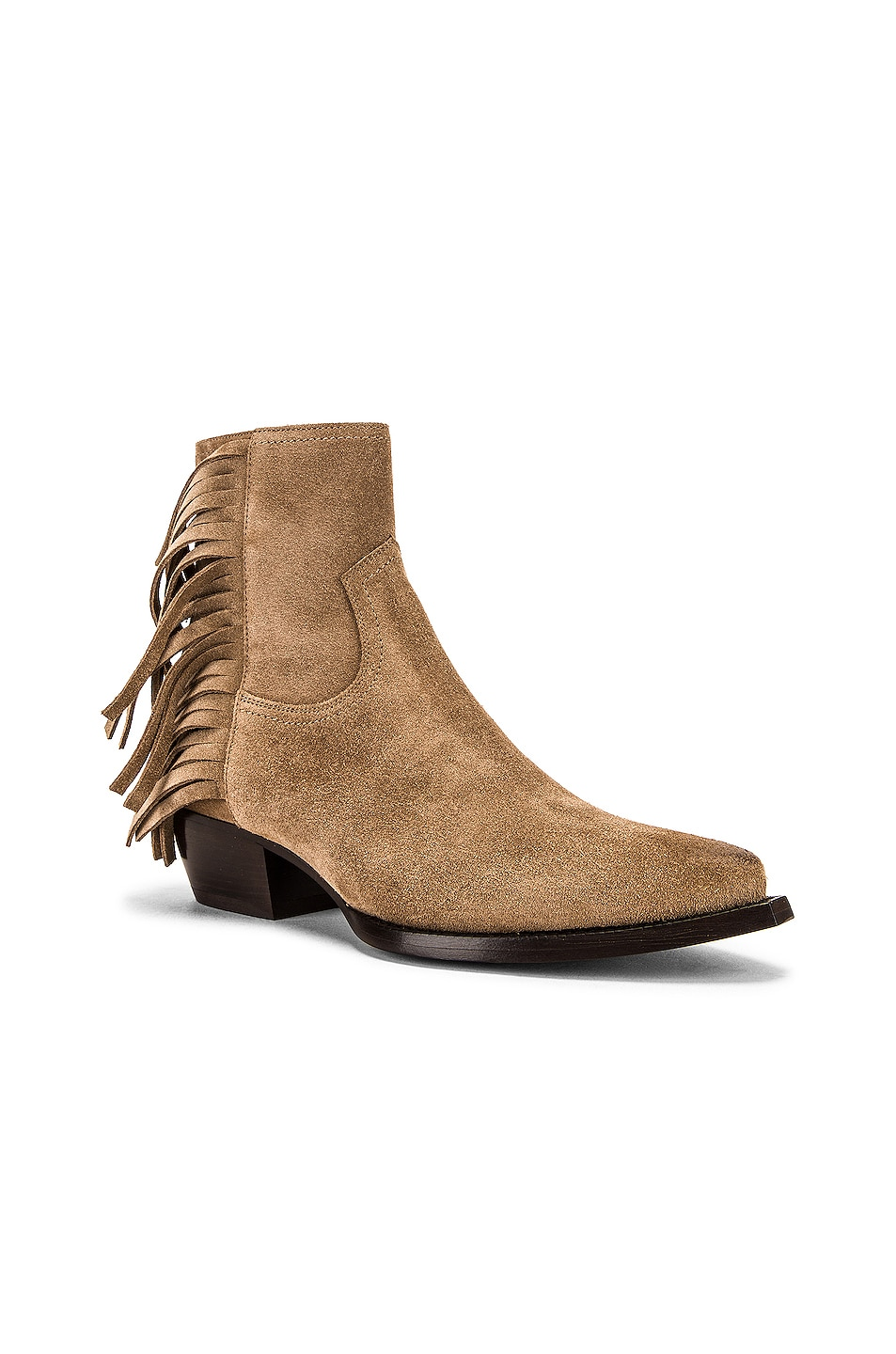 Image 2 of Saint Laurent Lukas Fringe Boots in New Sigaro