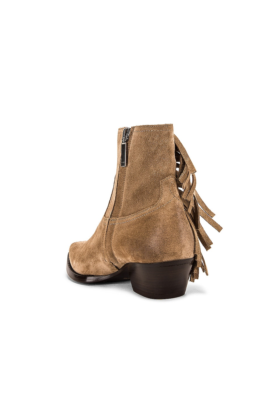 Image 3 of Saint Laurent Lukas Fringe Boots in New Sigaro