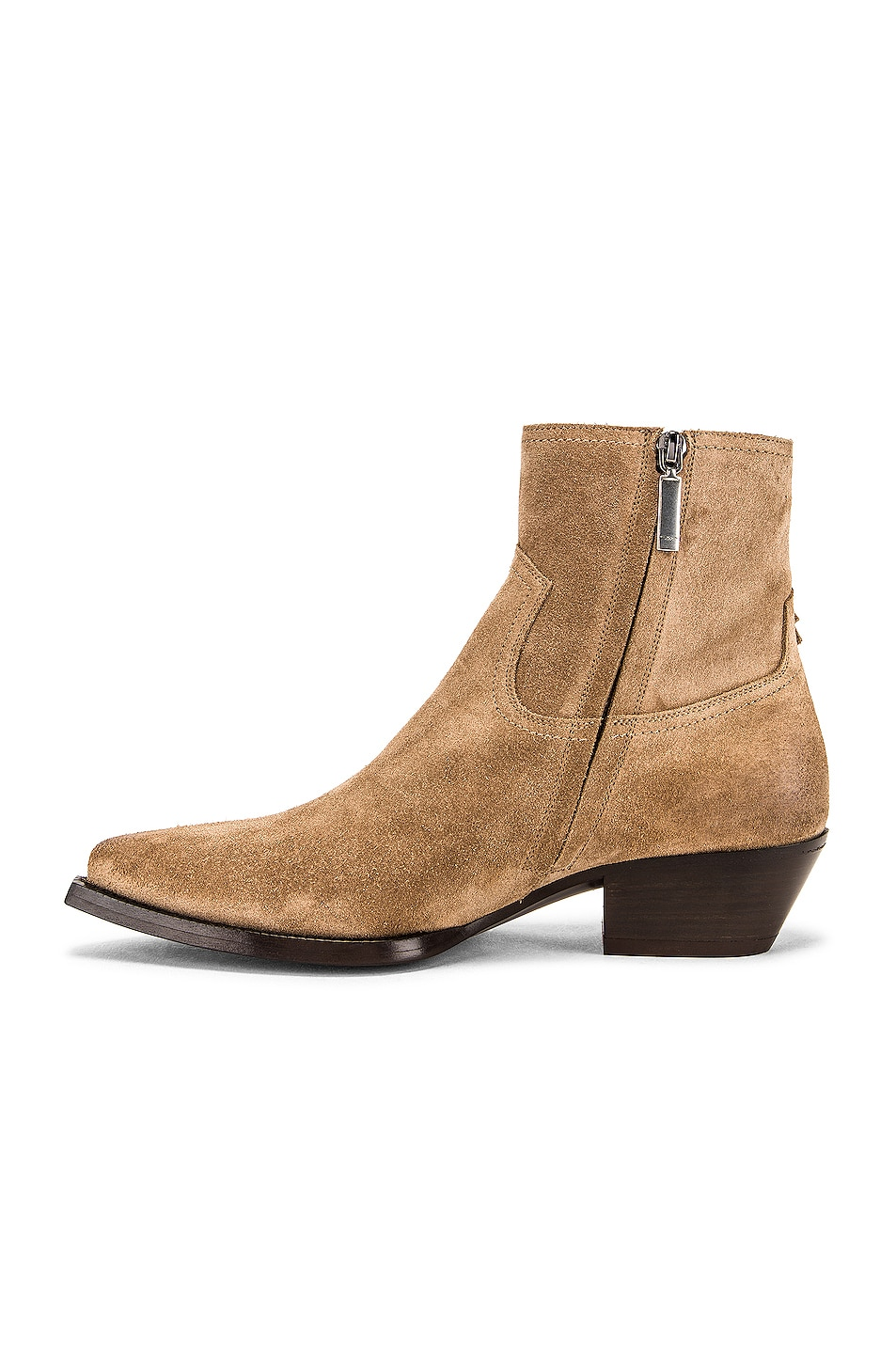 Image 5 of Saint Laurent Lukas Fringe Boots in New Sigaro
