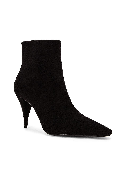 Image 2 of Saint Laurent Kiki Zip Booties in Black