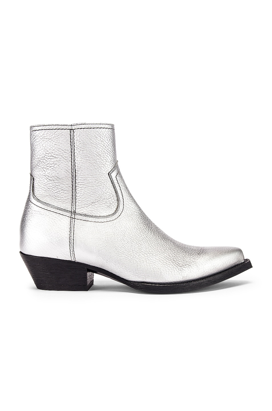 Image 1 of Saint Laurent Lukas Ankle Boots in Silver