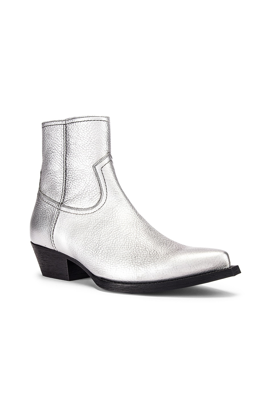 Image 2 of Saint Laurent Lukas Ankle Boots in Silver