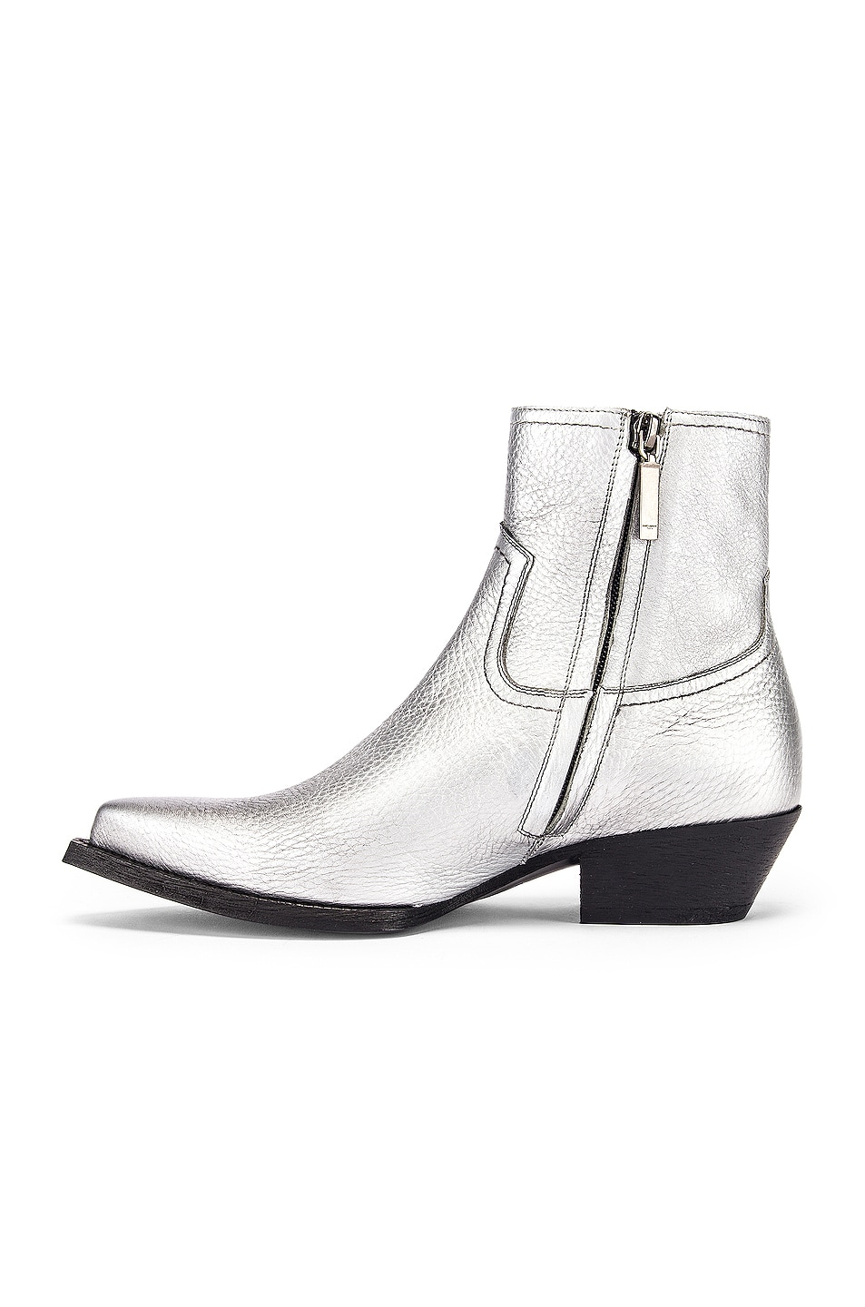 Image 5 of Saint Laurent Lukas Ankle Boots in Silver