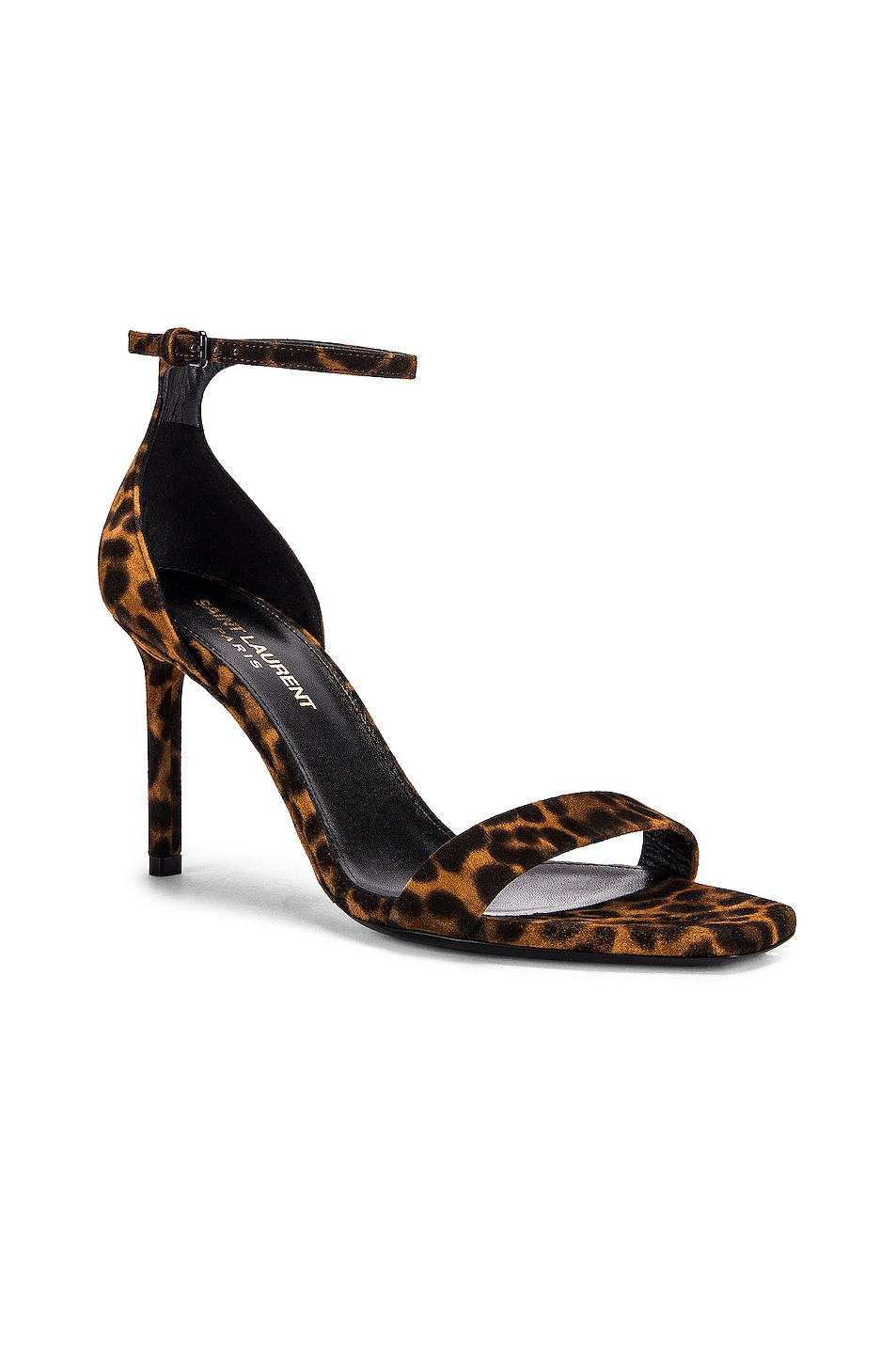 Image 2 of Saint Laurent Leopard Amber Ankle Strap Sandals in Natural Coffee